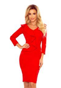 Numoco - Ołówkowa Sukienka z Falbanką - Czerwona. Kolor: czerwony. Materiał: poliester, elastan. Typ sukienki: ołówkowe