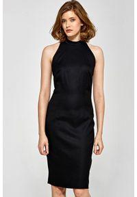 Sukienka z krótkim rękawem, ołówkowa, z dekoltem halter, elegancka