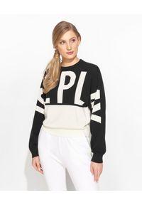 Ice Play - ICE PLAY - Dwukolorowy sweter z logo. Okazja: do pracy, na co dzień. Kolor: czarny. Materiał: bawełna. Długość rękawa: długi rękaw. Długość: długie. Styl: casual