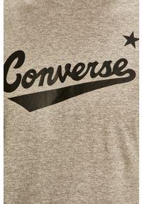 Szary t-shirt Converse z nadrukiem, z okrągłym kołnierzem, casualowy, na co dzień