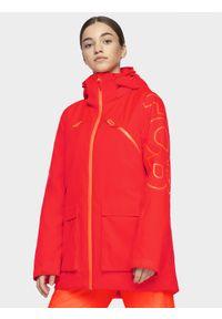 Czerwona kurtka snowboardowa 4f z kapturem, snowboardowa, na zimę