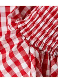 Czerwona bluzka Balmain na imprezę, w kratkę