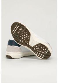 Białe sneakersy Pepe Jeans z okrągłym noskiem, na sznurówki, z cholewką