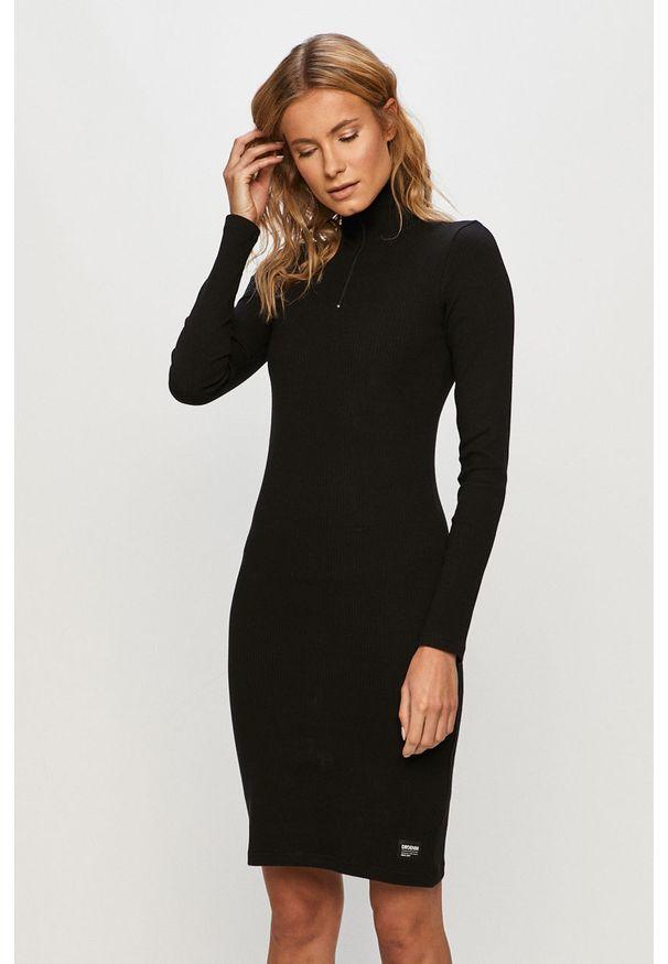 Czarna sukienka Dr. Denim na co dzień, z długim rękawem