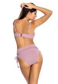 Fioletowy strój kąpielowy dwuczęściowy Lorin z podwyższonym stanem, gładki