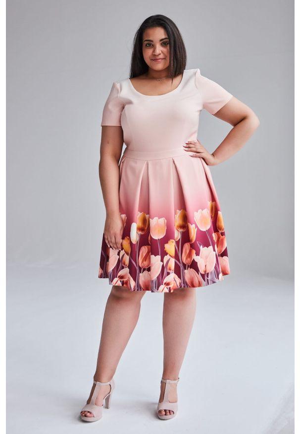 Moda Size Plus Iwanek - Koralowa wiosenna sukienka Gabi duże rozmiary OVERSIZE PLUS SIZE. Okazja: na wesele, na imprezę, na ślub cywilny. Kolekcja: plus size. Kolor: pomarańczowy. Wzór: kwiaty. Sezon: wiosna. Typ sukienki: dla puszystych, oversize