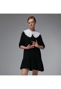 House - Sukienka mini z odpinanym kołnierzem - Czarny. Kolor: czarny. Długość: mini
