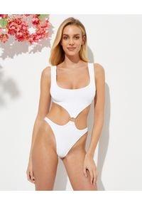 REINA OLGA - Biały strój kąpielowy Augusta. Stan: podwyższony. Kolor: biały. Materiał: materiał