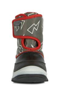 Czarne buty zimowe Geox z okrągłym noskiem, na rzepy, na zimę