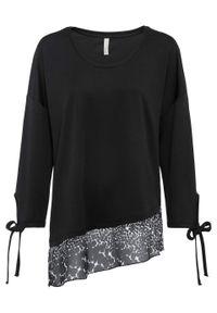 Czarna bluzka bonprix długa, z długim rękawem, z kokardą