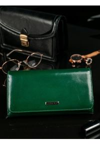 LORENTI - Skórzany portfel damski zielony Lorenti 1077. Kolor: zielony. Materiał: skóra. Wzór: gładki