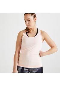 DOMYOS - Top fitness MY TOP. Kolor: różowy. Materiał: elastan, poliester, materiał. Sport: fitness