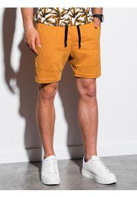 Żółte szorty Ombre Clothing krótkie, klasyczne, z aplikacjami