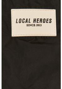 Czarna kurtka Local Heroes casualowa, z kapturem, gładkie, krótka