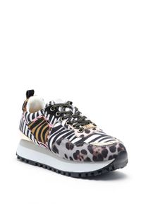 Szare sneakersy GOE na sznurówki, z okrągłym noskiem, na średnim obcasie