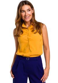 Żółta bluzka MOE z koszulowym kołnierzykiem, bez rękawów