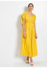 Sukienka z wiskozy bonprix żółty kanarkowy. Kolor: żółty. Materiał: wiskoza