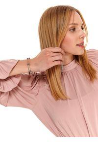 Różowa sukienka TOP SECRET z aplikacjami, na imprezę, ze stójką