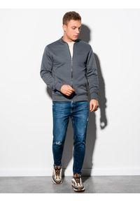 Ombre Clothing - Bluza męska rozpinana bez kaptura B1077 - grafitowa - XXL. Typ kołnierza: bez kaptura. Kolor: szary. Materiał: poliester, bawełna. Styl: sportowy