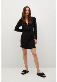 mango - Mango - Sukienka REAL. Kolor: czarny. Materiał: tkanina. Długość rękawa: długi rękaw. Typ sukienki: dopasowane
