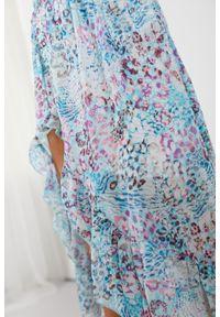 e-margeritka - Długa zwiewna spódnica z falbaną i z jedwabiem - druk 14, m. Materiał: jedwab. Długość: długie