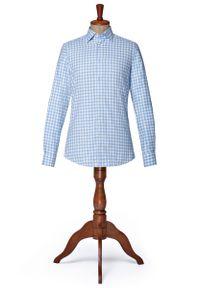 Niebieska koszula Lancerto na zimę, z włoskim kołnierzykiem, w kratkę, vintage