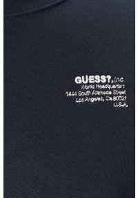 Niebieska bluza nierozpinana Guess Jeans z kapturem, casualowa, na co dzień