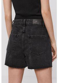 Jacqueline de Yong - Szorty jeansowe. Okazja: na co dzień. Stan: podwyższony. Kolor: szary. Materiał: jeans. Styl: casual