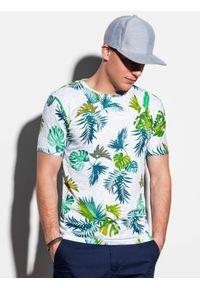 Biały t-shirt Ombre Clothing klasyczny, z nadrukiem