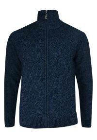 Niebieski sweter na zimę, ze stójką, elegancki