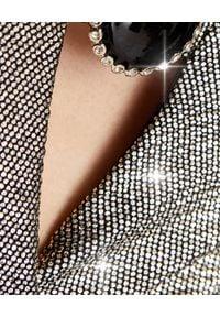 Pinko - PINKO - Srebrna suknia maxi Circolo. Kolor: srebrny. Materiał: tkanina, jersey. Długość rękawa: długi rękaw. Wzór: haft. Sezon: lato. Typ sukienki: kopertowe. Styl: elegancki. Długość: maxi