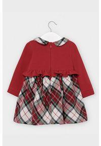 Czerwona sukienka Mayoral rozkloszowana, mini, z długim rękawem