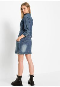 """Sukienka dżinsowa z rękawami 3/4 bonprix niebieski """"stone"""". Kolor: niebieski"""