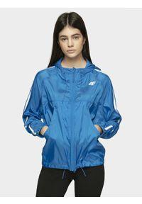 Niebieska kurtka 4f na co dzień, z kapturem, raglanowy rękaw, casualowa