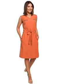Pomarańczowa sukienka wizytowa MOE sportowa, sportowa, na lato
