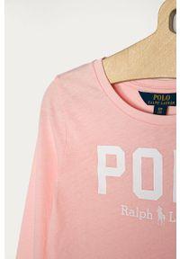 Różowa bluzka z długim rękawem Polo Ralph Lauren na co dzień, z nadrukiem