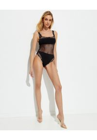 Balmain - BALMAIN - Transparentne czarne body. Kolor: czarny. Materiał: materiał. Wzór: aplikacja