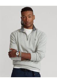 Ralph Lauren - RALPH LAUREN - Szary pullover Luxury Jersey. Typ kołnierza: polo. Kolor: szary. Materiał: jersey. Wzór: haft