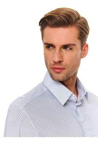 Niebieska koszula TOP SECRET na co dzień, w kolorowe wzory, długa, casualowa
