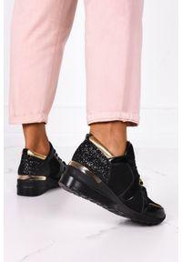 Kati - Czarne sneakersy kati buty sportowe sznurowane polska skóra 7023/l002. Kolor: czarny. Materiał: skóra