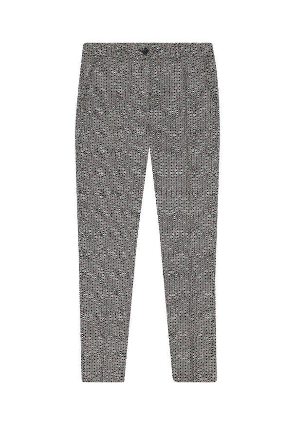 Czarne spodnie MOODO długie, w geometryczne wzory