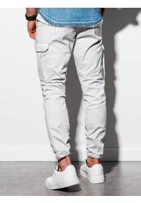 Ombre Clothing - Spodnie męskie joggery P893 - szare - XXL. Kolor: szary. Materiał: bawełna, elastan. Wzór: aplikacja #6