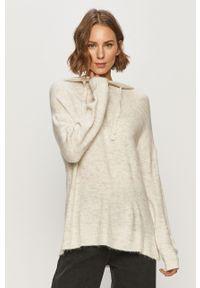 Szary sweter Jacqueline de Yong na co dzień, długi, z kapturem