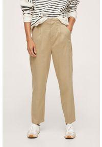 mango - Mango - Spodnie Mauro. Stan: podwyższony. Kolor: brązowy. Materiał: włókno