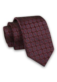Czarno-Czerwony Elegancki Męski Krawat -Angelo di Monti- 6 cm, w Listki, Wzór Geometryczny. Kolor: czerwony. Materiał: tkanina. Wzór: geometria. Styl: elegancki