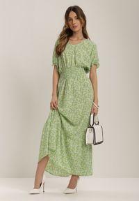 Renee - Jasnozielona Sukienka Echinaera. Typ kołnierza: dekolt gorset. Kolor: zielony. Długość rękawa: krótki rękaw. Typ sukienki: gorsetowe. Długość: maxi