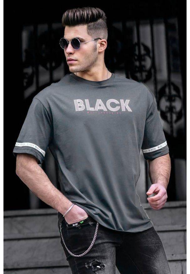 Szary t-shirt IVET z nadrukiem, casualowy, na co dzień