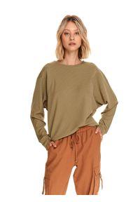 TOP SECRET - Bluza damska z kimonowym rękawem i przeszyciami. Kolor: brązowy. Materiał: dzianina. Sezon: jesień