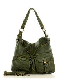 Zielona torebka klasyczna na ramię, skórzana