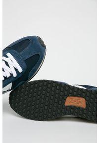 Niebieskie sneakersy Polo Ralph Lauren z cholewką, na sznurówki, z okrągłym noskiem